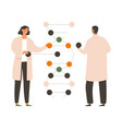 young male and female scientists are working vector image vector image