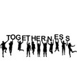people silhouettes holding letter with word vector image