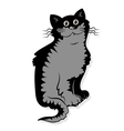 A funny black cat is sitting vector image vector image