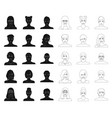 avatar and face blackoutline icons in set vector image vector image