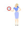 business woman time clock deadline concept vector image vector image