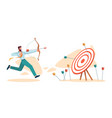 businessman hitting aim target business mission vector image