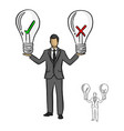 businessman holding big bulb vector image vector image