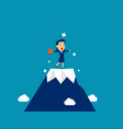 businesswoman at top mountain concept cute vector image