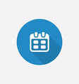 calendar Flat Blue Simple Icon with long shadow vector image