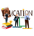 cartoon style people man and woman education vector image