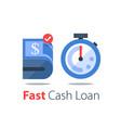 cash back bundle bills and stopwatch easy vector image vector image