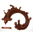 chocolate splash 3d realistic vector image vector image