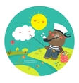 Cute bear catches on a fishing rod vector image