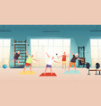 elderly in gym happy seniors active lifestyle vector image vector image