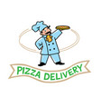 emblem of funny cook or baker with pizza and logo vector image vector image