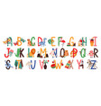 english alphabet with cute animals vector image