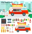 Food truck with snacks in the city vector image vector image