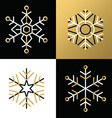Gold outline line snowflake set icon christmas vector image
