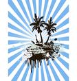 Grunge Palm Island vector image vector image