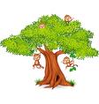 Happy little monkey hanging on tree vector image vector image