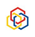 hexagon chain geometry connect logo vector image vector image