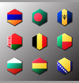 hexagon icon set flags of the world with official vector image vector image