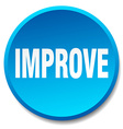 improve blue round flat isolated push button vector image vector image