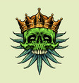 king gold crown skull marijuana leaves vector image vector image
