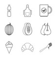 menu icons set simple style vector image