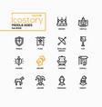 middle ages - line design style icons set vector image
