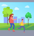 mother and son rollerblading in city park vector image