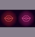 neon lips in red and pink color vector image vector image