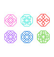 octagon chinese window frame in flat art vector image