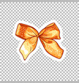 orange bow hand drawn on transparent vector image vector image
