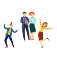 people having fun at corporate party in office vector image