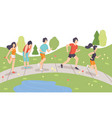 people running in park young men and women doing vector image vector image