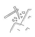 pickaxe line icon vector image vector image