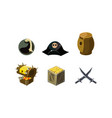pirate game elements set bomb hat chest of gold vector image