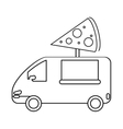 pizza delivery truck fast food outline vector image vector image