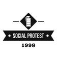protester gas grenade logo simple black style vector image vector image