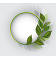 Round Banner with Patterned Tea Leaves vector image