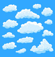 set cartoon clouds on blue background cloudy sky vector image vector image