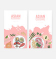 set of colorful flyer templates with sushi and vector image vector image