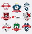 set soccer football logos and emblems vector image vector image