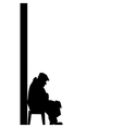 silhouette of old man vector image vector image
