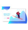 skier riding downhills at winter season website vector image vector image
