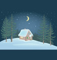 small house in forest and snowdrift vector image vector image