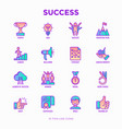 success thin line icons set vector image vector image