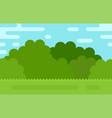 summer landscape bushes grass and sky flat vector image