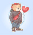 teddy bear teddy carrying love heart balloon vector image