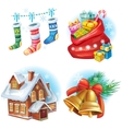 Traditional Christmas symbols vector image vector image