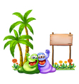 Two monsters having fun in front of the empty vector image vector image