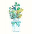 watercolor green plant bouquet and vintage bottle vector image vector image