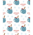 winter pattern with cup and marshmallows vector image vector image